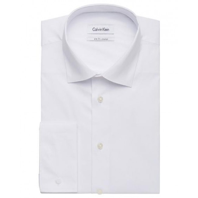 Calvin klein mens cotton stretch solid poplin slim fit for Calvin klein slim fit stretch shirt