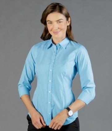 Gloweave Westgarth Womens Gingham Check 3/4 Sleeve Shirt - Teal Model