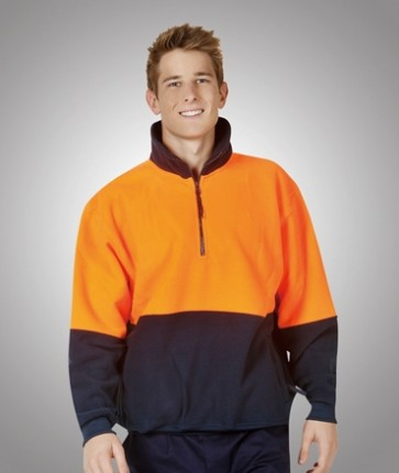 Blue Whale  Hi Vis Polar Fleece Jumper - Model Orange Navy