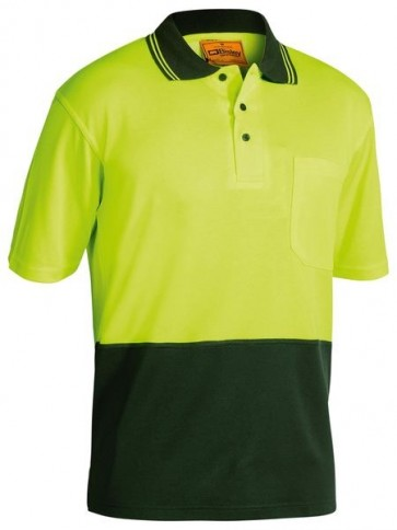 Bisley 2 Tone Hi Vis Polo Shirt Short Sleeve - Yellow Bottle Front