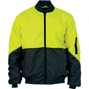 DNC Hi Vis 2 Tone Bomber Jacket - Yellow Navy