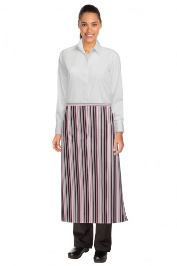 Chef Works 3/4 Striped Apron - Berry/Grey/Black