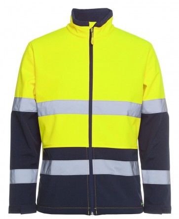 JBs Wear Hi Vis Day Night Water Resistant Soft Shell Jacket - Lime Navy