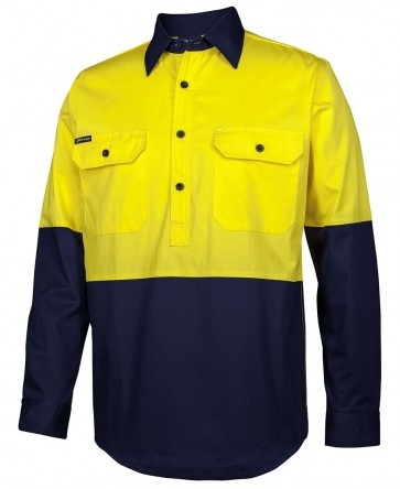 JBs Wear Hi Vis Close Front Long Sleeve Shirt - Yellow Navy Front