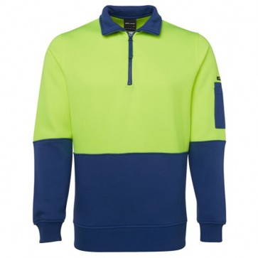JB's Wear Hi Vis 1/2 Zip Fleecy Sweat - Lime Royal