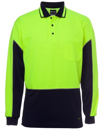 JBs Wear Hi Vis Long Sleeve Gap Polo - Lime Navy Front