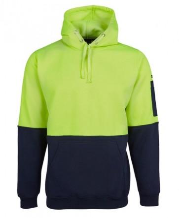 6HVPH Hi Vis Pull Over Hoodie Lime/Navy