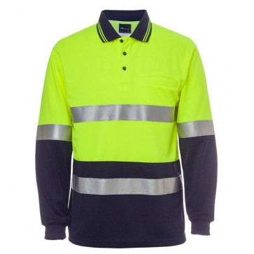 JBs Wear HV Day Night LS Traditional Polo Polo Shirt - Yellow Navy Front