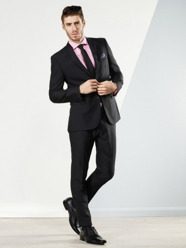 Aston Colton Men's Pure Wool Suit - Black