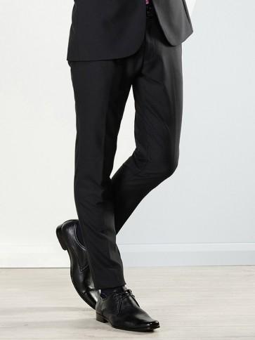 Aston Colton Men's Pure Wool Trousers Black