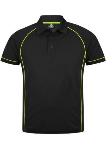 Aussie Pacific Mens Endeavour Polo Shirt - Black Furo Green