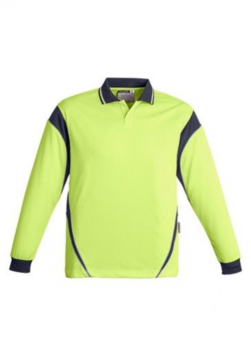 Hi Vis Aztec Mens Long Sleeve Polo (Button Free) 175gsm