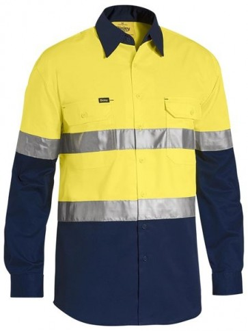 Bisley Men's Hi Vis 3 M Tape Light Weight LS Shirt - Yellow Navy Front