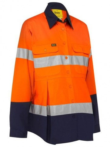 Bisley 3M Taped Maternity Drill Shirt - Orange Navy Front