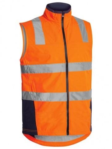 Bisley Hi Vis Soft Shell Vest with Reflective Tape - Orange Navy Front