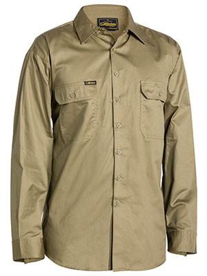Bisley Men's Cool Light Weight Long Sleeve Drill Shirt - Khaki