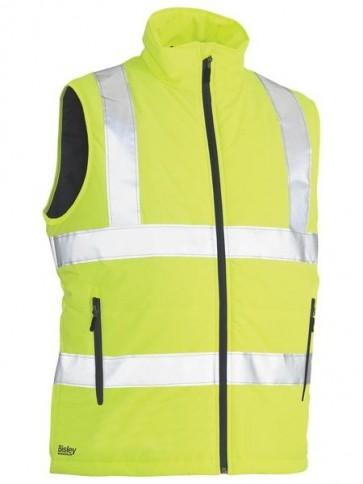 Bisley Hi Vis Taped Reversible Puffer Vest - Yellow Front