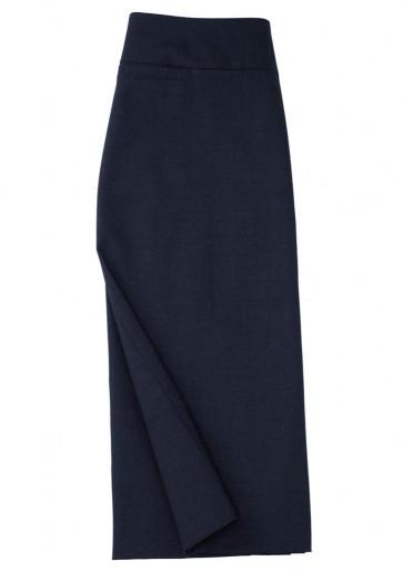 Biz Collection Ladies Classic Below Knee Skirt - Navy