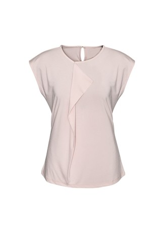 Biz Collection Ladies Mia Pleat Knit Top - Blush Pink Front