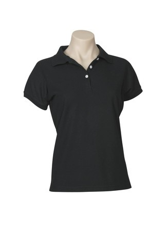Biz Collection Ladies Neon Polo - Black Front
