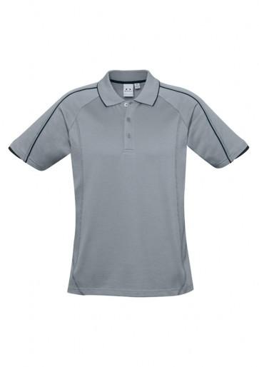 Biz Collection Mens Blade Polo - Silver Grey Black