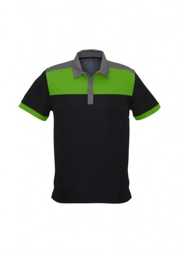 Biz Collection Mens Charger Polo - Black Green Grey Front