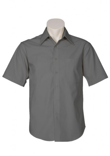 Biz Collection Mens Metro Short Sleeve Shirt - Charcoal