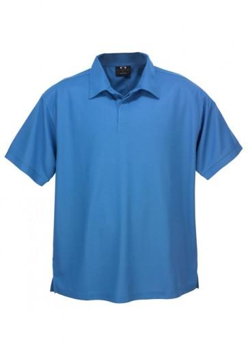Biz Collection Mens Micro Waffle Polo - Azure Blue
