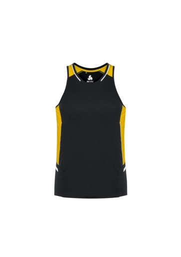 Biz Collection Mens Renegade Singlet - Black Gold Silver Front