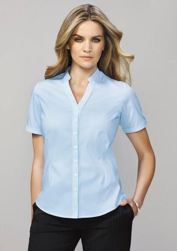 Biz Corporates Ladies Bordeaux Short Sleeve Shirt - Model