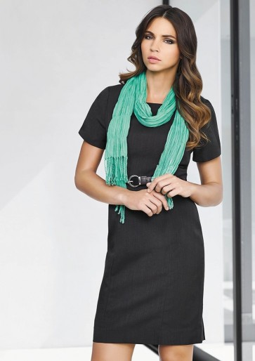 "Biz Corporates Ladies Short Sleeve Shift Dress ""Cool Stretch"" Model"