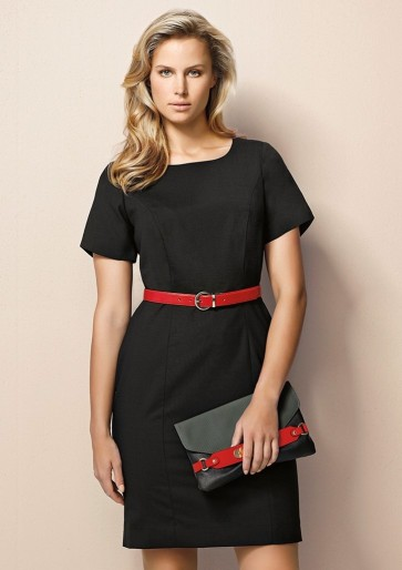 "Biz Corporates Ladies Short Sleeve Shift Dress ""Wool Stretch"" Model"