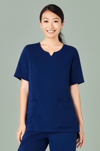 Bizcare Womens Tailored Fit Round Neck Scrub Top - Navy Model Front
