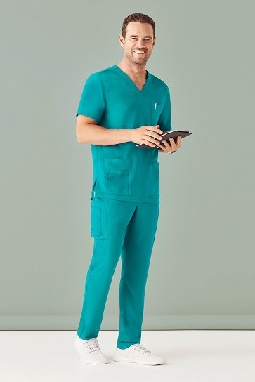 Bizcare Men's V Neck Scrub Top - Teal Model From