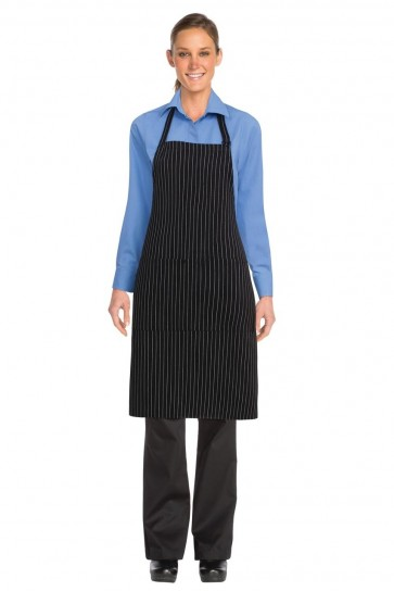 Chef Works Black White Pinstripe Bib Apron