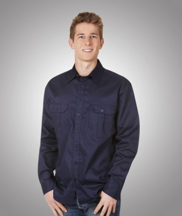 Blue Whale Cotton Drill Long Sleeve Navy Shirt 190gsm - Navy Model