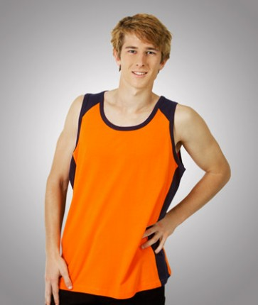 Blue Whale Hi Vis Singlet 100% Cotton - Orange Navy Model