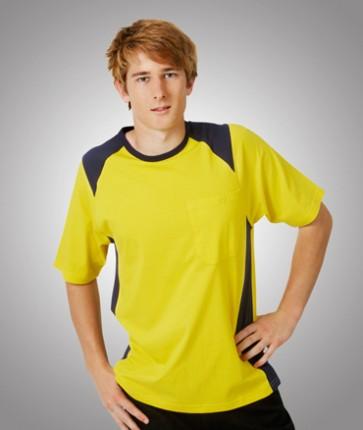 Blue Whale HV Cotton T Shirt Yellow Navy - Model
