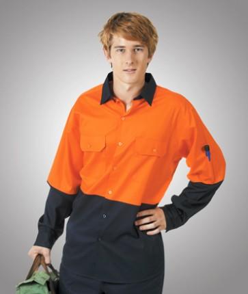 Blue Whale Hi Vis Cotton Twill Shirt Orange Navy 155 gsm