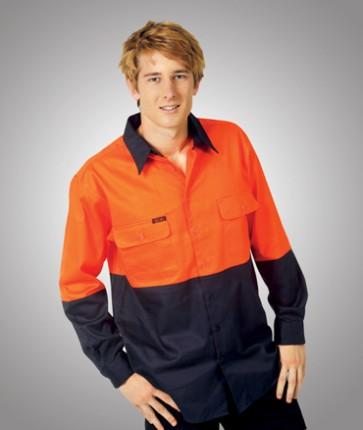 Blue Whale Hi Vis Cotton Drill Work Shirt - Model