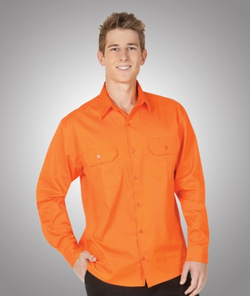Blue Whale HV LS Orange Cotton Twill Shirt 155gsm