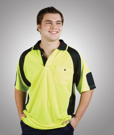 Blue Whale HV CoolDry Side Panel Short Sleeve Polo Shirt - Model