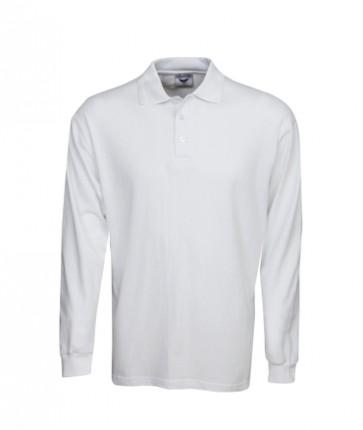 Blue Whale Premium Pre-Shrunk Cotton Long Sleeve Polo -White