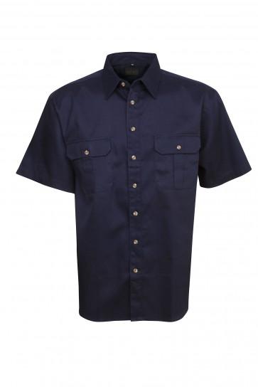 Blue Whale Cotton Drill Short Sleeve Navy Shirt