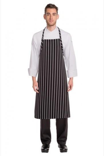 Chef Works Chalkstripe Adjustable Chefs Apron - Black