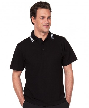 JB's wear Men's Chef Polo Shirt - Black / White Model