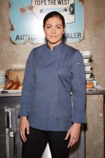 Chef Works Hartford Womens Zipper Chef Jacket - Blue