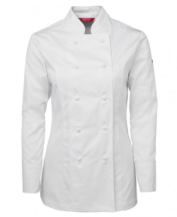 JB's wear Ladies Chef Jacket Long Sleeve - White Front