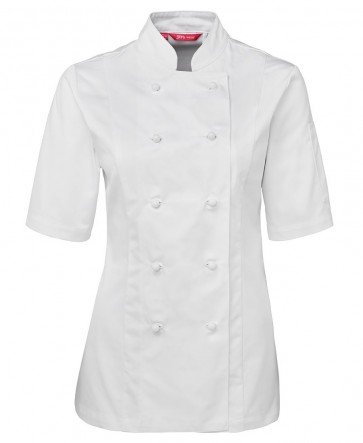 JB's wear Ladies Chef's Jacket Short Sleeve - White Front