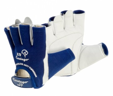 Contego Fingerless Anti Vibration Leather Glove with Velcro Closure & Gel Palm